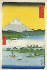 3 anciennes photos de scènes Orientale vues reproduction 3 print set utagawa hiroshige