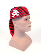 #Pirate Skull Hat Red and Black strips for Halloween party Adult one size