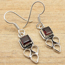 """925 Silver Overlay Natural GARNET LATEST STYLE Earrings 1.5"""" Indian Jewelry"""
