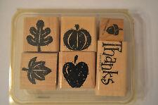 Stampin Up Fall Fun Wood Mounted Rubber Stamp Set 6 Leaf  Apple Thanks Pumpkin