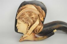 Rare Large Intricate Meerschaum Pipe Stoned Victorian Woman w/ Nice Smoking Case