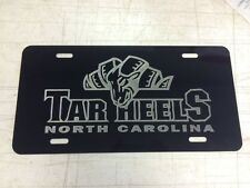 UNC Tar Heels Car Tag Diamond Etched on Black Aluminum License Plate