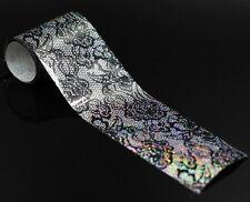 DIY Nail Art Manicure Nail transfer Foil BLACK LACE DESIGN 60cm lenght