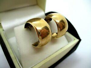 Vintage Pr 9ct 375 Solid Gold Wide Huggie Hoop Pierced Earrings B'ham 1970 2.91g