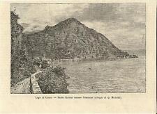 Stampa antica MENAGGIO NOBIALLO SASSO RANCIO Lago di Como 1884 Old antique print