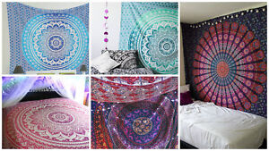 Lot of 5 Indian Mandala Tapestry Wall Hanging Bohemian Hippie Bedspread Throw