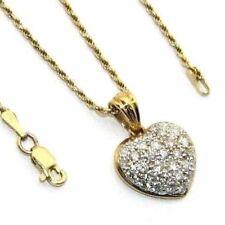 "Ladies womens 18K 18ct gold 17"" chain & pendant with 1 full carat of diamonds"