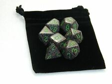 New Chessex Polyhedral Dice with Bag Earth Speckled 7 Piece Set DnD RPG