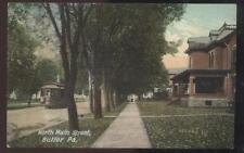 Postcard BUTLER Pennsylvania/PA  North Main Street Houses/Homes w/Trolley 1907