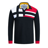 Neue Herren Colorblock Polo Shirt Langarm Casual Patchwork Baumwolle Polo Shirts