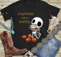 Nightmare Before Coffee Jack Skellington Halloween Black T Shirt. Best Gift.