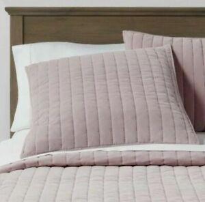 "Threshold Standard Channel Stitch Velvet Sham Mauve Pink 26"" X 20"" 100% Cotton"