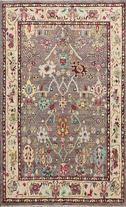 Turkish Handmade Authentic Oushak Geometric Floral Area Rug Vegetable Dye 5x6 ft