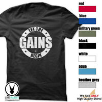 LET THE GAINS BEGIN Gym Rabbit T-Shirt Workout BodyBuilding Weightlifting c796