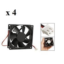 4 X 12V Black 80mm Square Plastic Cooling Fan For Computer PC Case