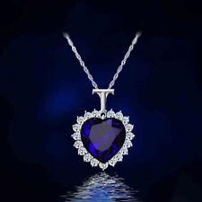 Nuevo Océano titánica corazón Rhinestone Pendiente Cristal Cadena Collar de mujer niña