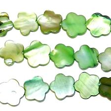 """MP661f Green 14mm - 16mm Flat Flower Mother of Pearl Gemstone Shell Beads 15"""""""