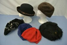 Vintage Women'S Hats Winter Lot Of 6