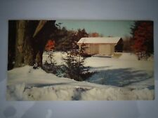 Vintage Christmas Card Covered bridge Winter snow scene Mid century Sunshine USA