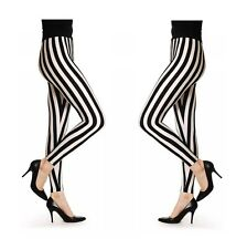 Womens Ladies Black+ White Vertical  Stripe Print Full Length  Leggings UK 8-16