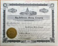 Ray-Jefferson Mining Company 1937 Stock Certificate w/Capitol - Wallace, ID