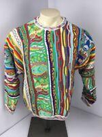 RARE 90s Vtg COOGI Australia NEON-BIGGIE-MCGREGOR sweater M VAPORWAVE Cosby