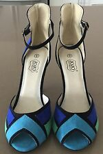 Retro NATURALLY JOJO Blue, Black, Green Colour Block Ankle Strap HeelsSize 6