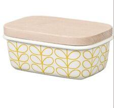 Orla Kiely Enamel Butter Dish - Linear Stem Sunshine/Dandelion - New & Boxed