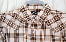 "BILLABONG BOYS XL Short Sleeved Shirt BNWT Chest to 40"" Blue Brown Cream Check"