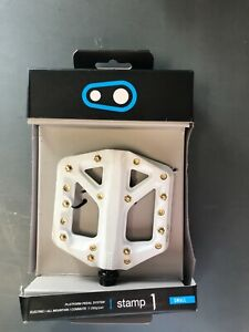 CrankBrothers Stamp 1 Bicycle Pedals - Small - White/Gold