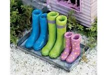 Miniature Dollhouse FAIRY GARDEN - Wellies on Boot Tray - Accessories