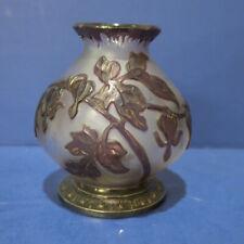 RARE Burgun Schverer & Co French Cameo Glass Vase Purple Floral