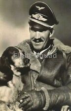 WW2 Picture Photo German Adolf Galland Luftwaffe Ace with His Dog 3293