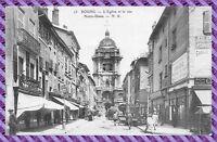 Carte postale - BOURG - eglise et la rue notre dame