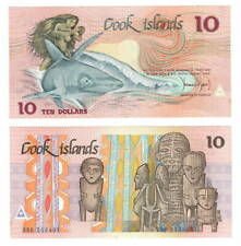 COOK ISLANDS UNC $10 Dollars Banknote (1987 ND) P-4 Naked Woman on Shark