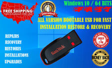 Windows 10 64 Bits All Version Bootable Usb Fast Installation Restore Recovry