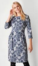 Roman Originals Grey & Navy Brushed Floral Knit Pocket Dress Size 14 RRP £38
