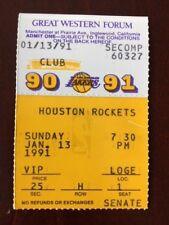 VINTAGE 1990-1991 SEASON L.A. LAKERS TICKET STUB VS. HOUSTON ROCKETS