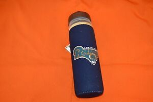 Los Angeles Rams Logo Travel Squeeze Plastic Water Bottle 22oz Sleeve Wrap New