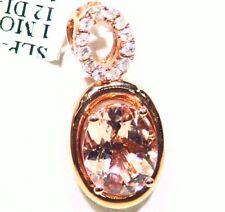 2.41CT 14K Gold Natural Morganite White Diamond Vintage Engagement Necklace Deco