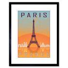 Travel Paris City France Eiffel Tower Arc De Triomphe Framed Wall Art Print