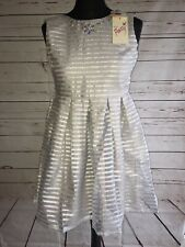 7faab6a90cf Yumi Girls Grey Silver Sparkly Stripe Organza Skater Dress Age 11/12