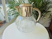 Full Clear Crystal & Silverplate Top Trophy Drink Pitcher with Ice Tube c 1960
