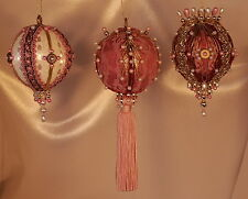 Victorian Style Christmas Tree Ornaments - Mauve Set of Three