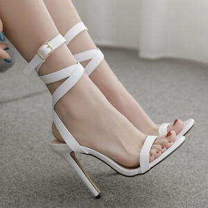 Super High Heel Women Sandals Pumps Fashion Peep Toe Buckle Strap Shoes Party UK