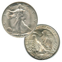 Count of 5 - Walking Liberty Half Dollar XF/VF Condition 90% Silver