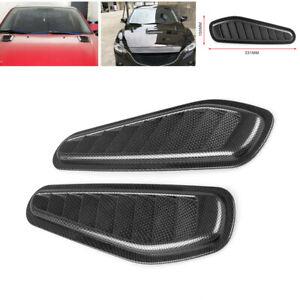 2X Universal Carbon Fiber Look Car Air Flow Intake Scoop Bonnet Vent Cover Hood