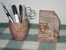 Carved Stone Guardian Lion Bookend & Pencil Cup India Speckled Red Stone
