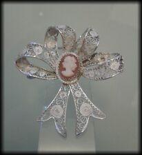 Vintage Italian 900 Solid Silver Filigree Shell Cameo Bow Brooch (c.1934-1945)