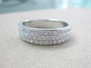 """925 STAMPED-REAL Sterling Silver CZ Wedding band """"WIDE"""" Womens Ring size 5-13US"""